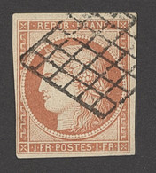 X France 1849-50 First Issue 1fr. Vermilion, Four Good To Very Large Margins And Used By Crisp Grille Cancellation, A Fi - Sin Clasificación