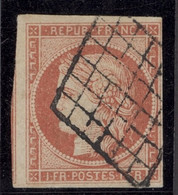 France 1849-52 First Issue 1f. Bright Vermilion, Lozenge Cancellation, Good To Very Large - Sin Clasificación