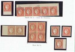 France 1849-52 First Issue Forgeries 1f. Vermilion (19), Including Block Of Four, Strip Of Five Tête-bêche Pair, - Sin Clasificación