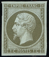 """X France 1853-60 Imperforate """"Empire"""" Issue 1c. Olive-green On Green, Large Margins And Part Original Gum. S.G. 42a, £30 - Sin Clasificación"""