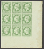 """X France 1853-60 Imperforate """"Empire"""" Issue 5c. Green, Block Of Nine (3x3) From The Lower Right Corner Of The Sheet, Ori - Sin Clasificación"""