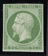 """X France 1853-60 Imperforate """"Empire"""" Issue 5c. Green, Unused With Good Margins On Three Sides, Just Touching Frame Line - Sin Clasificación"""
