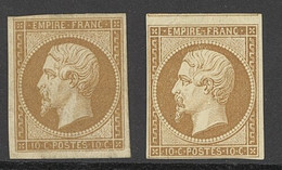 """X France 1853-60 Imperforate """"Empire"""" Issue 10c. Bistre, Two Unused Examples, Types I And II, Both With Good To Large Ma - Sin Clasificación"""