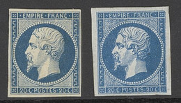 """X France 1853-60 Imperforate """"Empire"""" Issue 20c. Blue, Two Unused Examples, One Regummed The Other With Part Original Gu - Sin Clasificación"""