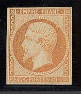"""X France 1853-60 Imperforate """"Empire"""" Issue 40c. Orange, Unused With Three Good Margins And Just Touching The Frame Line - Sin Clasificación"""