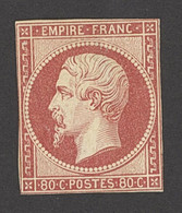 """X France 1853-60 Imperforate """"Empire"""" Issue 80c. Deep Rose, Unused With Close Margins, Just Touching The Frame Line In A - Sin Clasificación"""