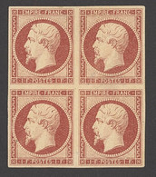 """X France 1853-60 Imperforate """"Empire"""" Issue 1f. Carmine, Block Of Four With Large Even Margins, Full Original Gum, A Few - Sin Clasificación"""