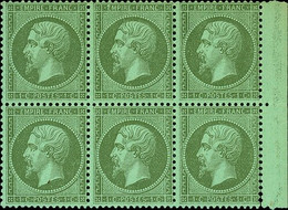 """France 1862 Perforated """"Empire"""" Issue 1c. Olive-green Block Of Six (3x2) - Sin Clasificación"""