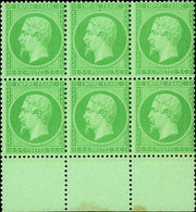 """France 1862 Perforated """"Empire"""" Issue 5c. Green, Block Of Six (3x2) From The Foot Of The Sheet, - Sin Clasificación"""