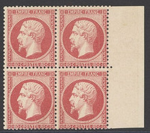 """X France 1862-70 """"Empire"""" Laureated Issue 80c. Rose, Block Of Four From The Right Of The Sheet, Large Part Original Gum; - Sin Clasificación"""