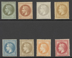 """X France 1862-70 """"Empire"""" Laureated Issue 1c. To 80c. Part Set Of Eight, Unused With Part Gum, Generally Good To Fine. S - Sin Clasificación"""