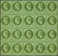 "France 1862-70 ""Empire"" Laureated Issue 1c. Bronze-green, Block Of Twenty (5x4), - Sin Clasificación"