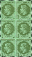 """France 1862-70 """"Empire"""" Laureated Issue 1c. Bronze-green, Block Of Six (2x3), Unmounted Mint, - Sin Clasificación"""