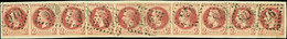"""France 1862-70 """"Empire"""" Laureated Issue 2c. Red-brown, Type I, Horizontal Strip Of Ten, - Sin Clasificación"""