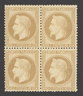 """X France 1862-70 """"Empire"""" Laureated Issue 10c. Bistre, Type II, Block Of Four With Part Original Slightly Disturbed Gum. - Sin Clasificación"""