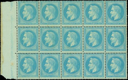 """France 1862-70 """"Empire"""" Laureated Issue 20c. Blue, Type II, Block Of Fifteen - Sin Clasificación"""