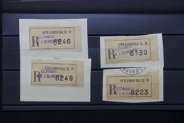 FRANCE - Lot De 4 étiquettes En Recommandé Du Conseil De L 'Europe à Strasbourg Sur Fragment - L 79705 - 1921-1960: Période Moderne