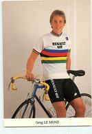 Greg LEMOND , Le Mond, Champion Du Monde . 2 Scans. Cyclisme. Renault Elf - Cycling