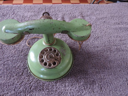 Jouet Ancien Téléphone En Tôle De Marque Jep -  Le Cadran Fonctionne + Sonnerie (voir Photos) - Toy Memorabilia