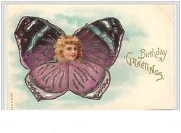 Birthday Greetings - Tête D'angelot Avec Un Corps De Papillon (carte à Paillettes) - Verjaardag