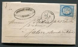 FRANCE ( OBLITERATION LOSANGE )  GC  4331  Vouziers   Ardennes (7)  SUR  LETTRE , A  SAISIR . - 1849-1876: Periodo Clásico