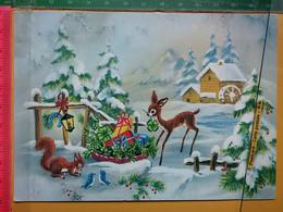 KOV 8-267 - New Year, Bonne Annee, Biche, Doe, CHEVREUIL, ROE, FAWN, FAON, Squirrel, écureuil, Lanterne - Anno Nuovo