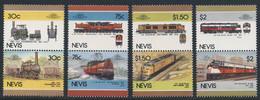 Nevis 1986 Mi 340 7 YT 353 /60 SG 352 /9 ** Railway Locomotive USA - Leaders Of The World / Lokomotiven USA - St.Kitts E Nevis ( 1983-...)