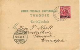 German Levant - Turkish Empire 1900 20pa On 10pf Postcard From Jerusalem To Switzerland - Deutsche Post In Der Türkei