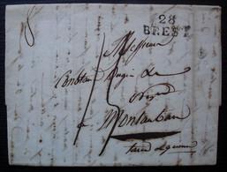 28 / BREST 1823 Marque 25 X 11, Lettre Pour Montauban - 1801-1848: Precursori XIX