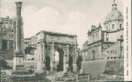 Alte Echtfotokarte Im Kleinformat - Italien, ROM, Arco Di Settimio Con La Colonna Di Joca - Other Monuments & Buildings