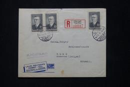 FINLANDE - Enveloppe Commerciale En Recommandé De Hangö En 1945 Pour La Suisse Avec Vignette Au Dos - L 79764 - Cartas