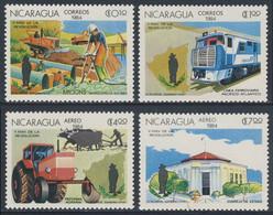 Nicaragua 1984 Mi 2531 /4 YT 1345 /6 + A1073 /4 SG 2618 /1 ** Bautätigkeit, Eisenbahnwesen, Agrarreform,  Staatsrates - Nicaragua