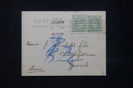 ROYAUME UNI - Entier Postal ( Repiquage Au Dos ) + Complément De Londres En 1909 Pour La Suisse - L 79769 - Postwaardestukken