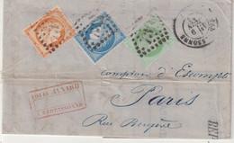"""FRANCE : GC 732 . """" CARCASSONNE """" . (10) . AFFRANCHISSEMENT TRICOLORE A 70 Cts . TYPE CERES . POUR PARIS . 1873 . - 1849-1876: Klassik"""