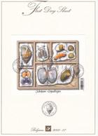 B01-223 A4 2005-017 3419 3424 Bloc 122   Nature Coquillages First Day Sheet FDS 25-7-2005 Schelpen Seashells Tirage - 2001-10