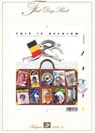 B01-223 A4 2004-003 3235 3244 Bloc 108   Personnalités Les Belges Dans Le Monde First Day Sheet FDS 16-2-2004  This - 2001-10