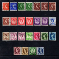 GREAT  BRITAIN    1955    Q E 11   Wmk  St  Edwards  Cross    Set Of 25  Incl Variations    USED - Gebraucht