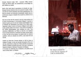 B01-224 Enveloppe Souvenir Bloc 103 Cob 3169 - Simenon !!! Fort Plissée !!! - 2001-10