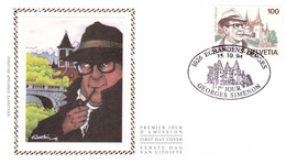 B01-224 Enveloppe Fdc Soie 2579 Suisse - Georges Simenon 1903-1989 - écrivain 2.75€ - Ohne Zuordnung