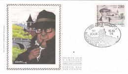 B01-224 Enveloppe Fdc Soie 2579 France - Georges Simenon 1903-1989 - écrivain 2.75€ - Ohne Zuordnung