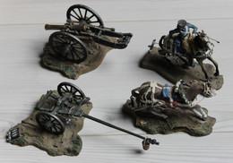 Bel Ensemble Soldat De Plomb Cavalier Canon Cheval - Zinnsoldaten