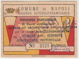 TRAM TRAMWAYS AZIENDA AUTOFILOTRAMVIARIA DI NAPOLI - TESSERA BIGLIETTO TICKET DI ABBONAMENTO 1952 - Europa