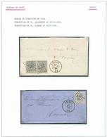 THIELTBel Ensemble De 2 Lettres Affranchie De L'Emission 1865 Vers Tournay Avec Obl. LP.357 Bien Nettes (N°17 En Paire - 1865-1866 Profil Gauche