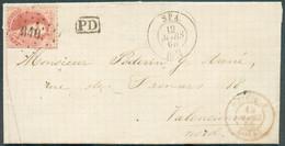 N°16 - Médaillon 40 Centimes Carmin-rose, Obl. LP.340 Idéalement Apposée Sur Une Lettre De SPA Le 12 Mars 1865 Vers Vale - 1863-1864 Médaillons (13/16)