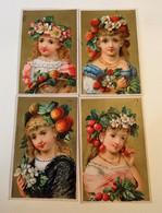 4 CHROMOS FEMMES FRUITS. EPICERIE, MERCERIE A LENS. - Zonder Classificatie