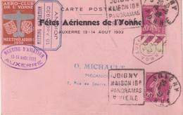 """FRANCE : CP : """" MEETING DE L'YONNE """" AVEC VIGNETTE IMPRIMEE . AUTOGRAPHE DE MARYSE BASTIE . 1932 . - Air Post"""