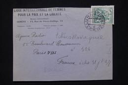 TCHECOSLOVAQUIE - Enveloppe ( Devant ) De La Ligue Internationale De Femmes Pour La Paix En 1937 Pour Paris - L 79833 - Cartas