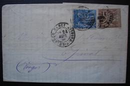 Nancy 1880 Affranchissement  Sage 30c + 15c Sur Lettre De Henquel, Renaudin Drouaillet & Cie (Banque) - 1877-1920: Semi Modern Period