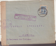 """GRECE : DE """" SALONIQUE """" . POUR PARIS . CENSUREE . CONTROLE POSTAL MILITAIRE DE L'ARMEE D'ORIENT . 1916 . - Storia Postale"""