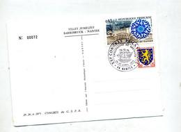 Carte Cachet  Nantes Congres  Vue Jumelage Sarrebourg - Bolli Commemorativi